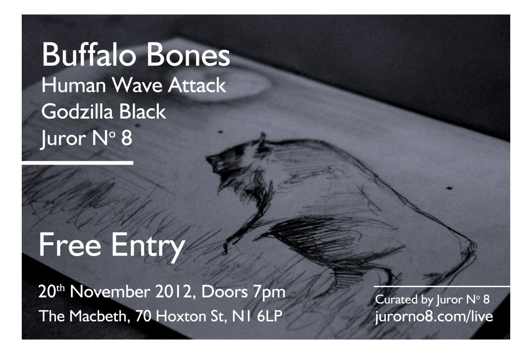 Poster for gig at The Macbeth on 20 November